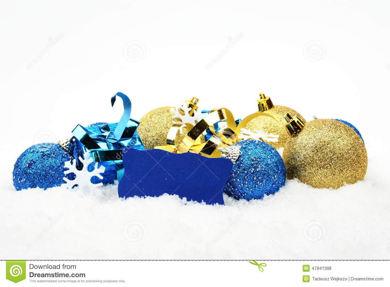 blue golden christmas decoration in line on snow with wishes card stock photo image 47941398. Black Bedroom Furniture Sets. Home Design Ideas