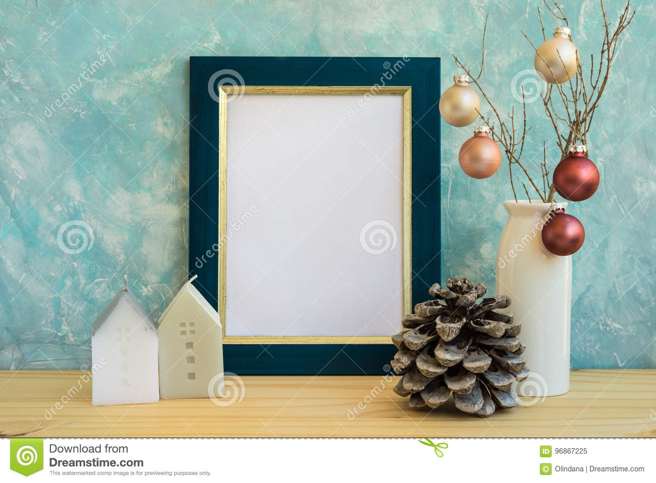 Blue and golden frame mock up, Christmas, New Year, pine cone, colorful baubles, house candles, space for quotes