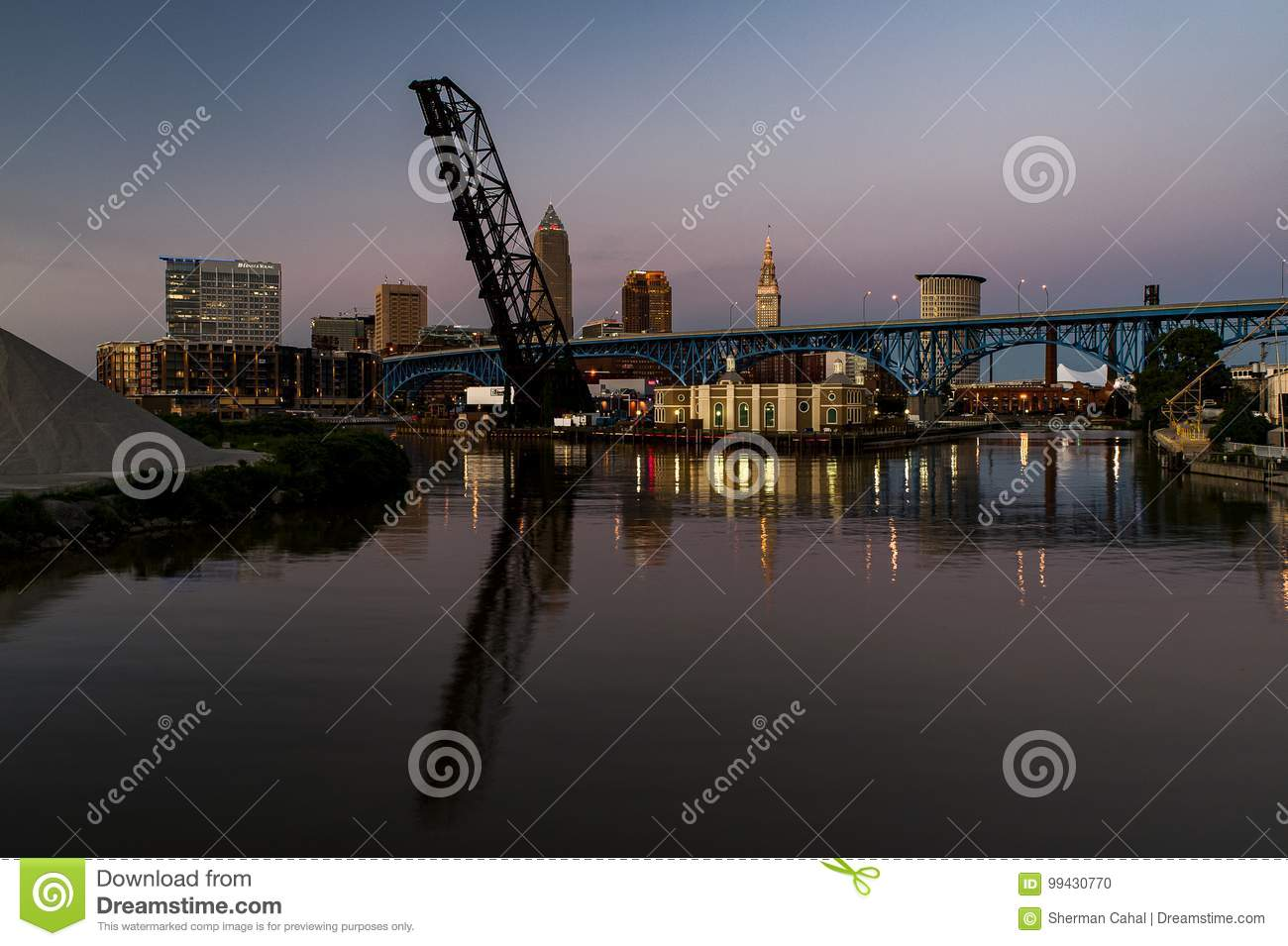 Blue / Golden Hour / Sunset - Cleveland, Ohio Skyline with Bridges
