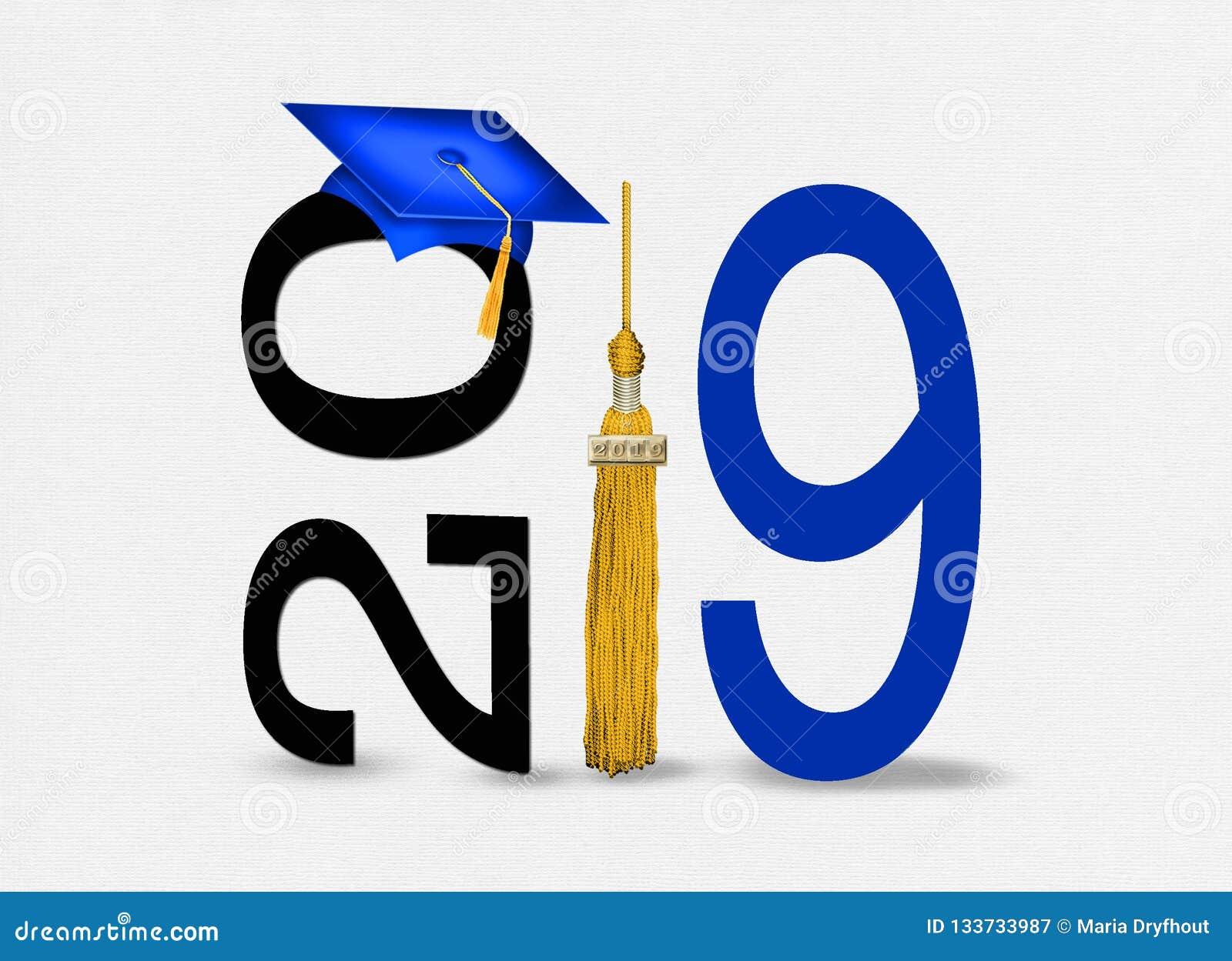 Blue 2019 Graduation Cap With Gold Tassel Stock ...