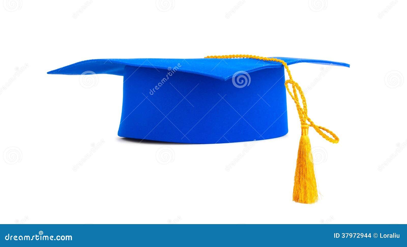 Blue Graduation Cap With Gold Tassel Stock Photo