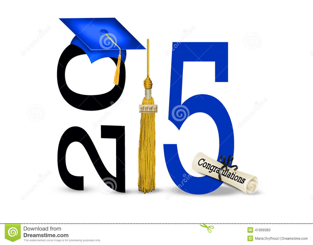 Blue graduation hat with gold tassel and diploma for class of 2015.