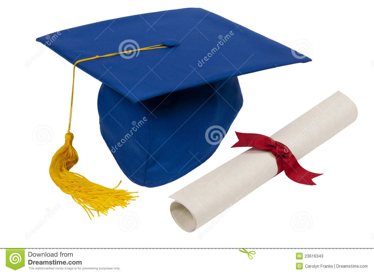 Blue Graduation Hat With Diploma Stock Image