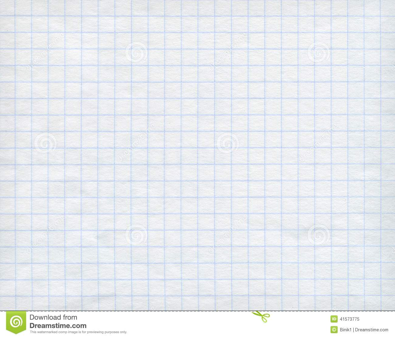 blue graph paper on white background  stock image