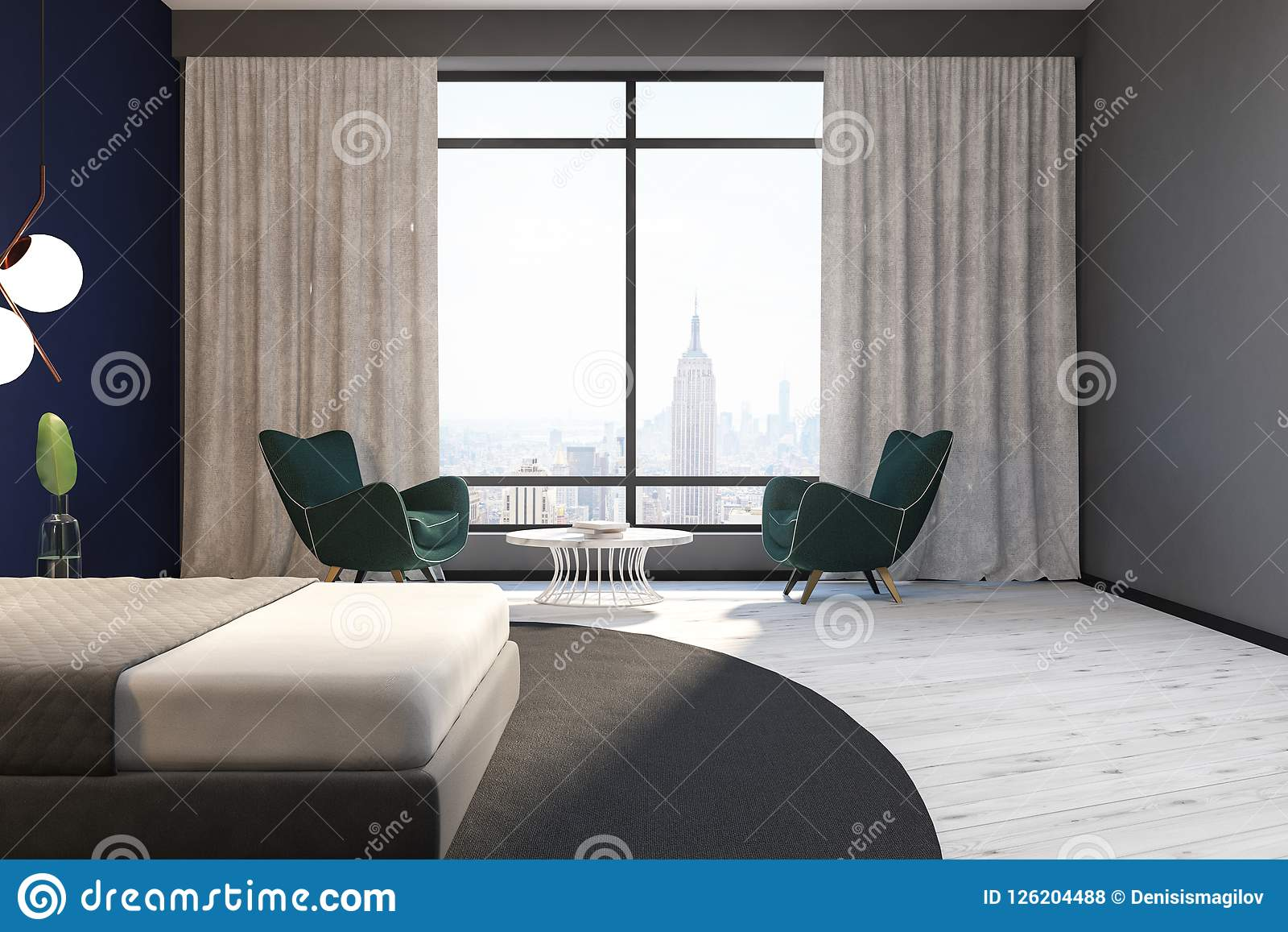 Blue And Gray Bedroom Interior Armchairs Stock Illustration Illustration Of Large Hotel 126204488