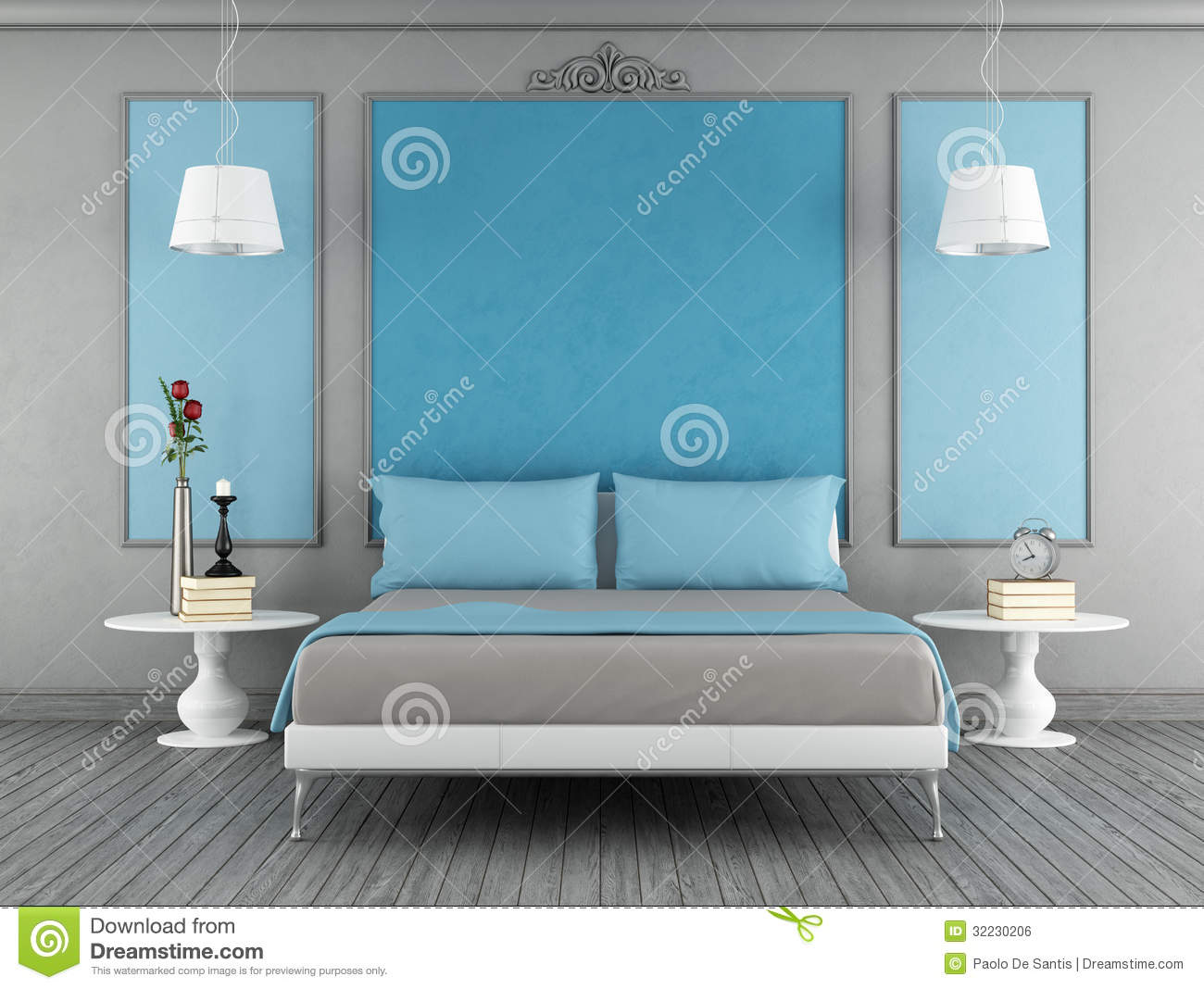 Blue and gray bedroom stock illustration. Image of live - 32230206