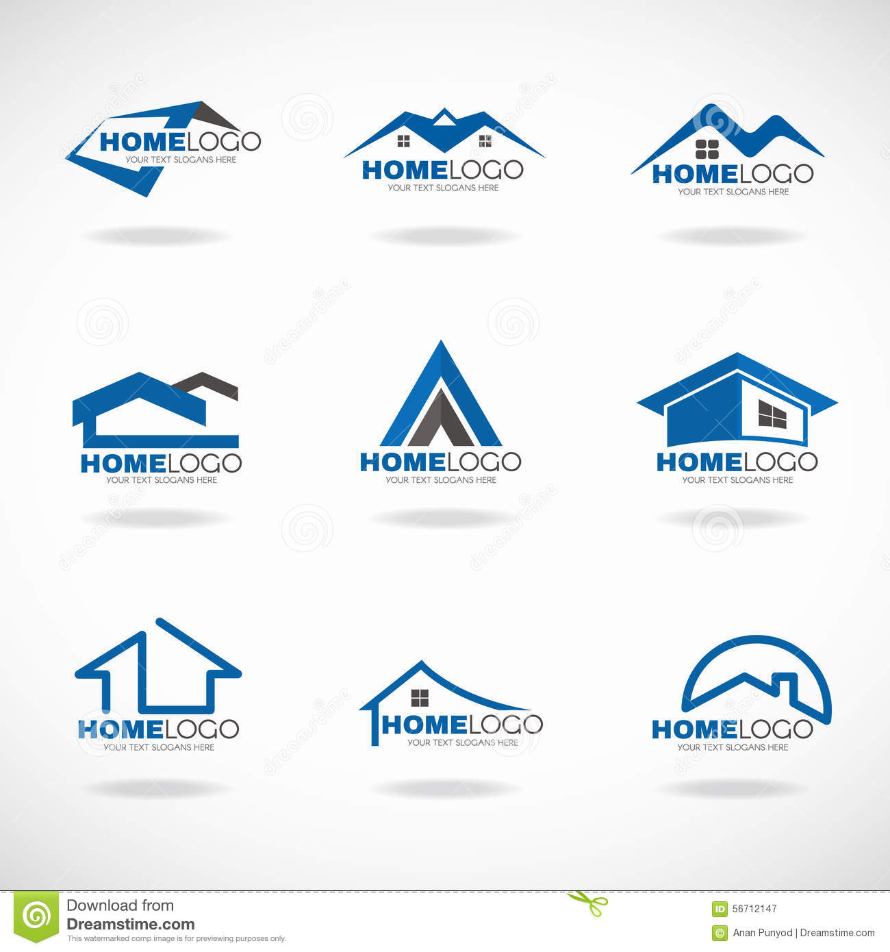 blue and gray home logo set vector design stock vector home logo image home improvement logos funeral office