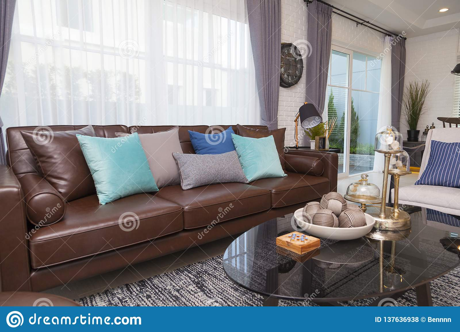 Blue And Gray Pillows On Leather Sofa In Modern Living Room Stock Photo Image Of Details Comfort 137636938
