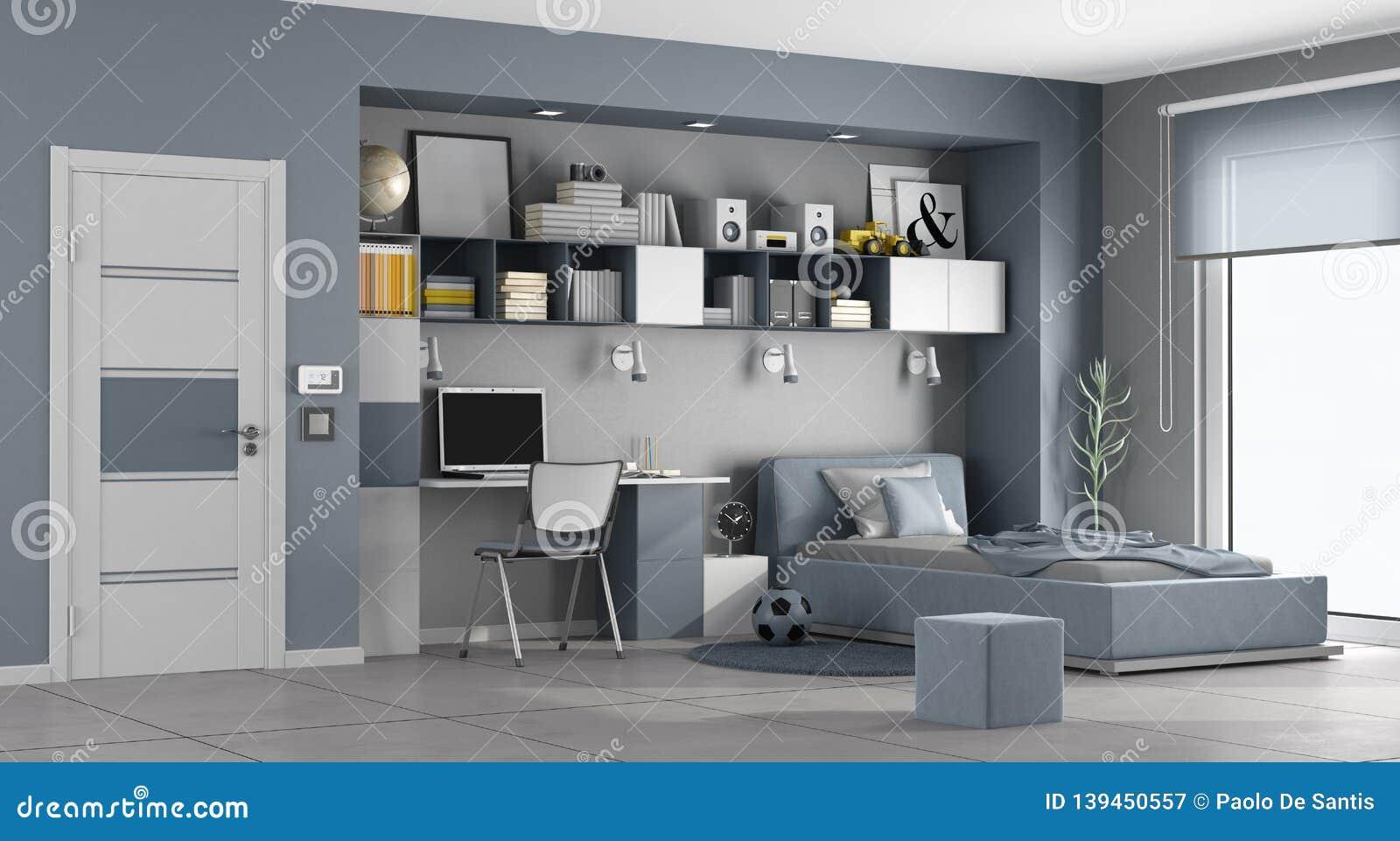 Blue And Gray Teen Room Stock Illustration Illustration Of
