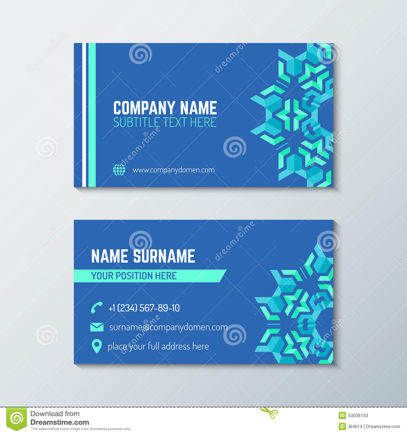 download blue green abstract business card template stock vector illustration of modern business - Back Of Business Card