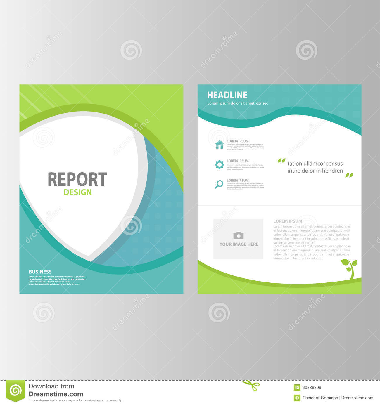 Green Black Blue Annual Report Presentation Template Elements Icon