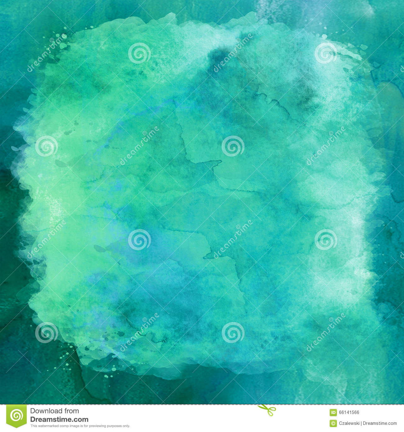 The Texture Of Teal And Turquoise: Blue Green Aqua Teal Turquoise Watercolor Paper Background