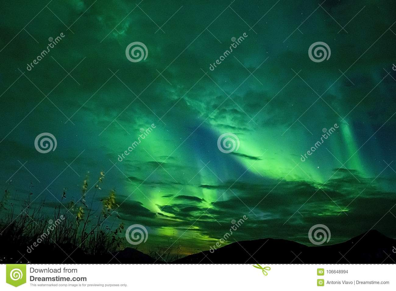 BLUE GREEN AURORA IN THE ARCTIC SKY