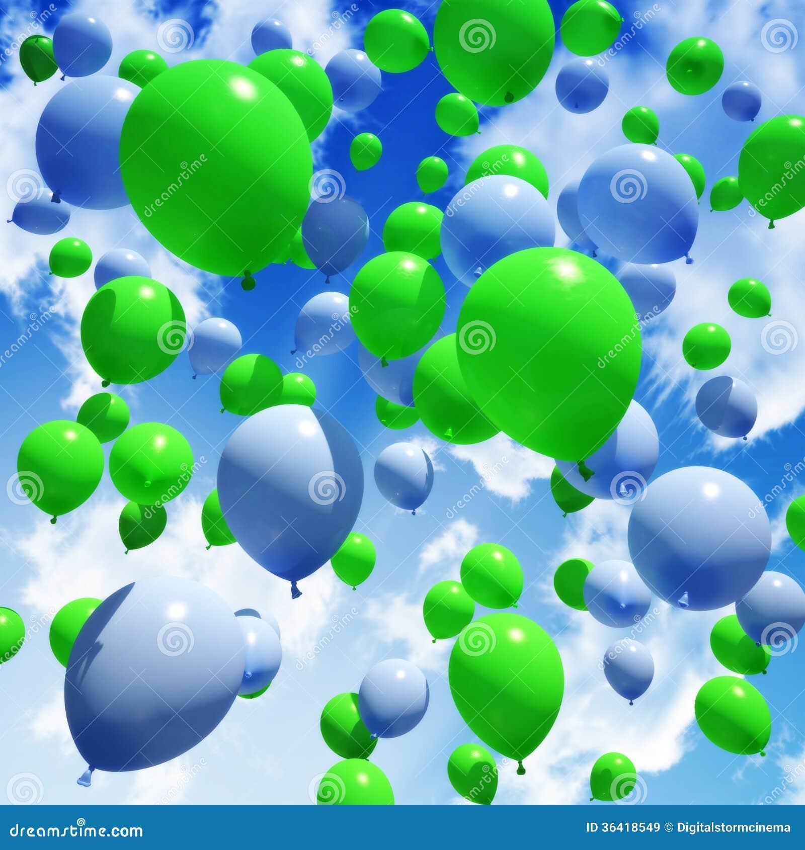 Green and blue balloons - Balloon