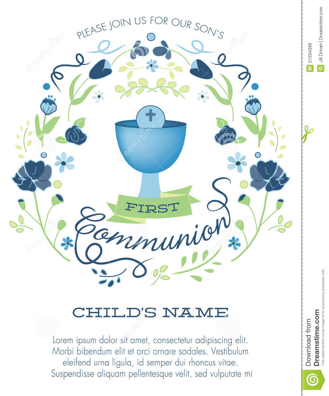 Blue And Green Boys First Holy Communion Invitation With Chalice And