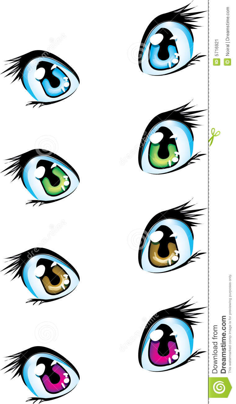 Blue, Green, Brown And Violet Anime Eyes Stock Image - Image: 5716921