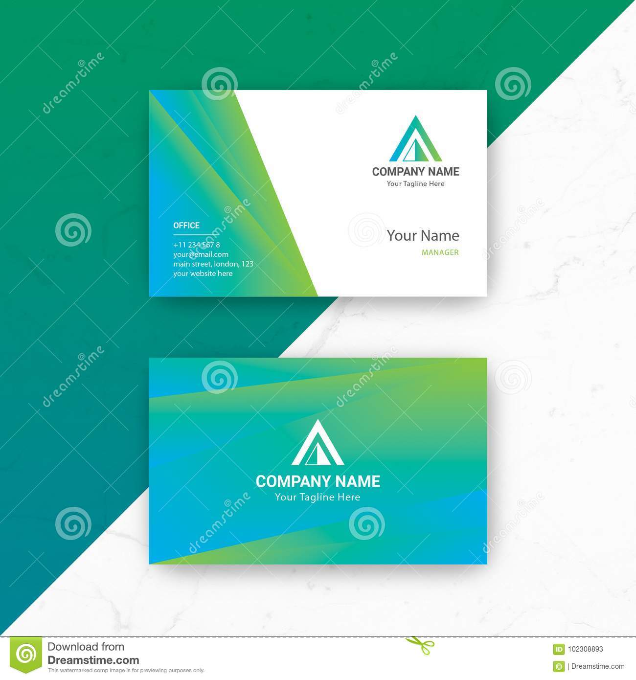 Blue green business card vector template stock vector illustration blue green business card vector template friedricerecipe Images