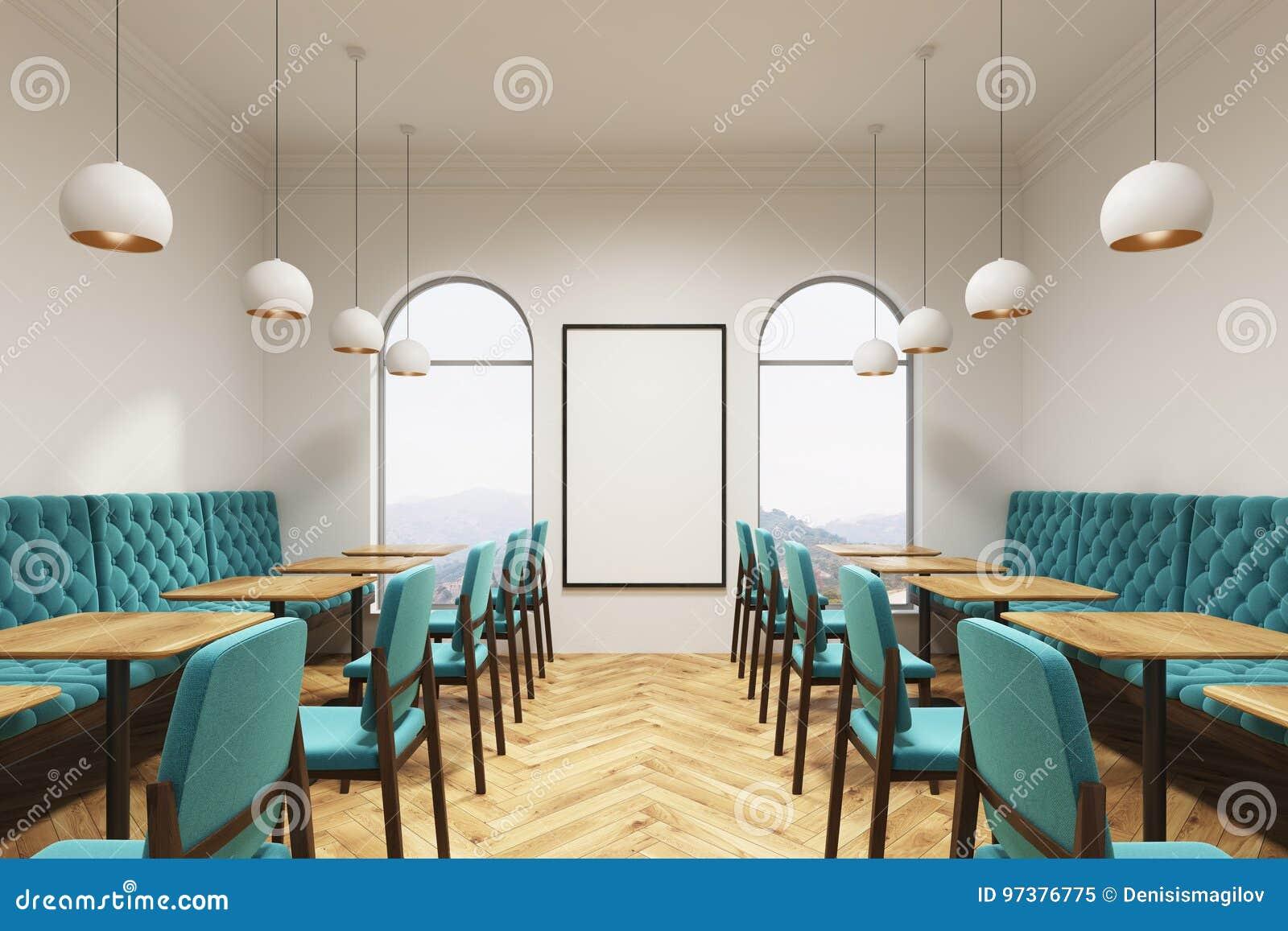 Blue Green Cafe Interior Poster Stock Illustration Illustration Of Banner Background 97376775
