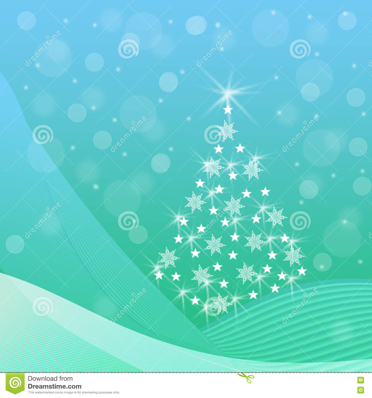 Blue and green Christmas background with fir tree