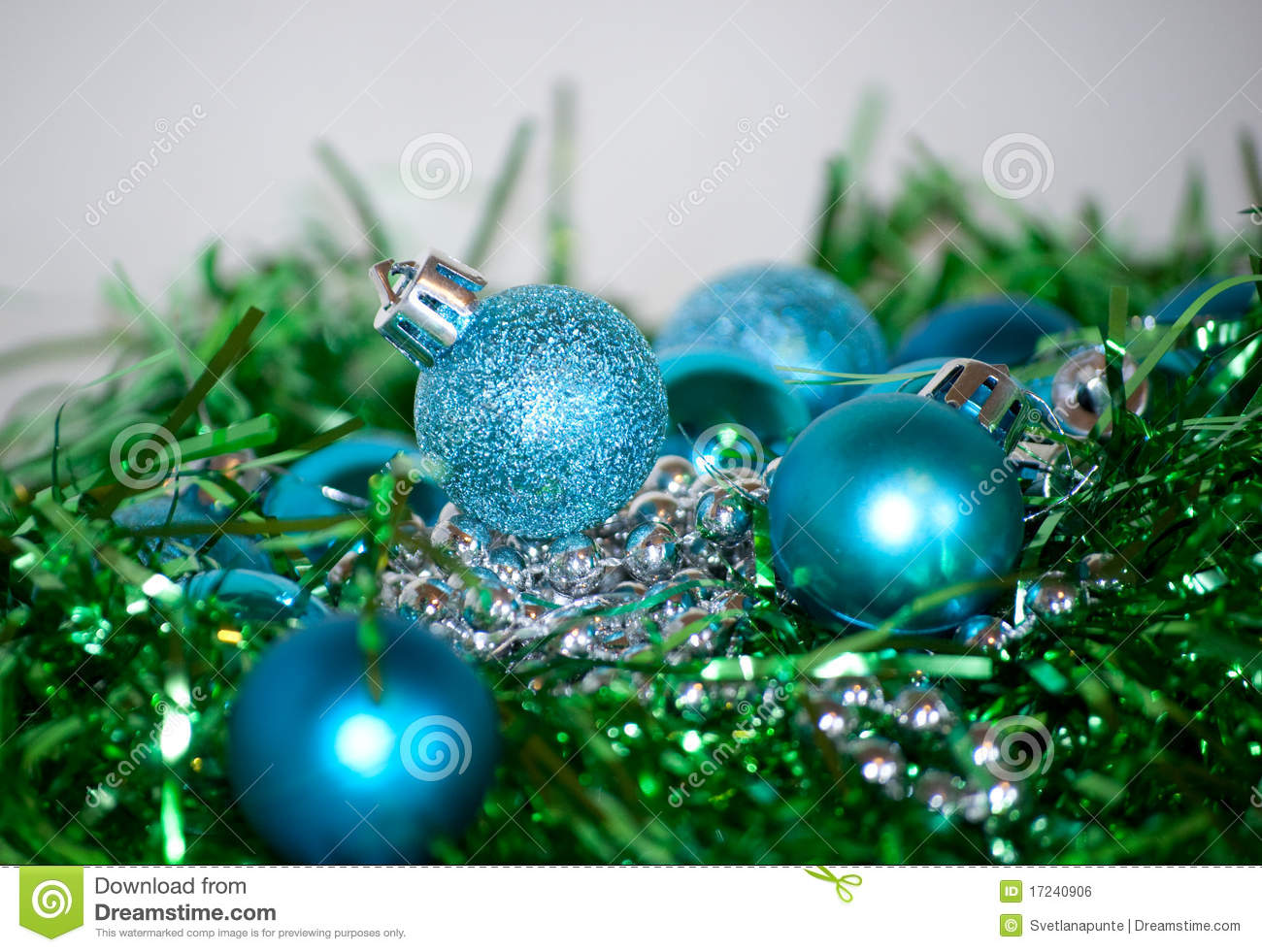 Blue and green christmas decorations stock photo image for A green christmas decoration