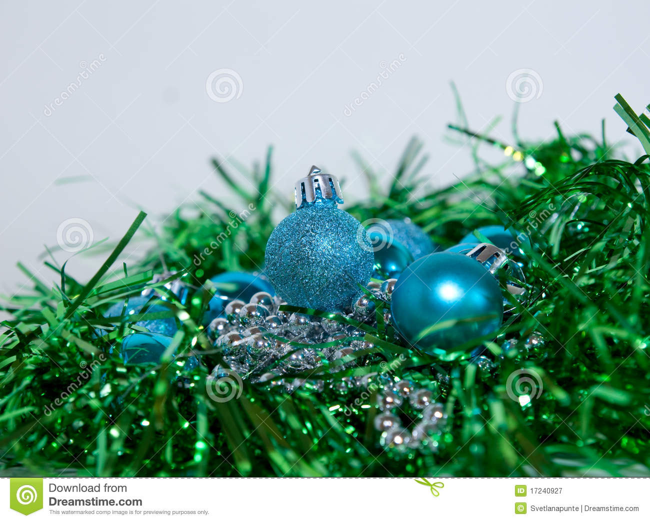Blue and green christmas decorations stock image image for A green christmas decoration