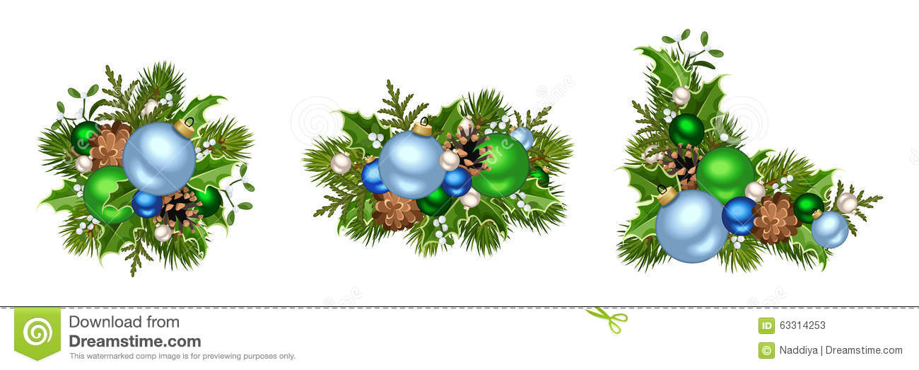Blue And Green Christmas Decorations. Vector Illustration