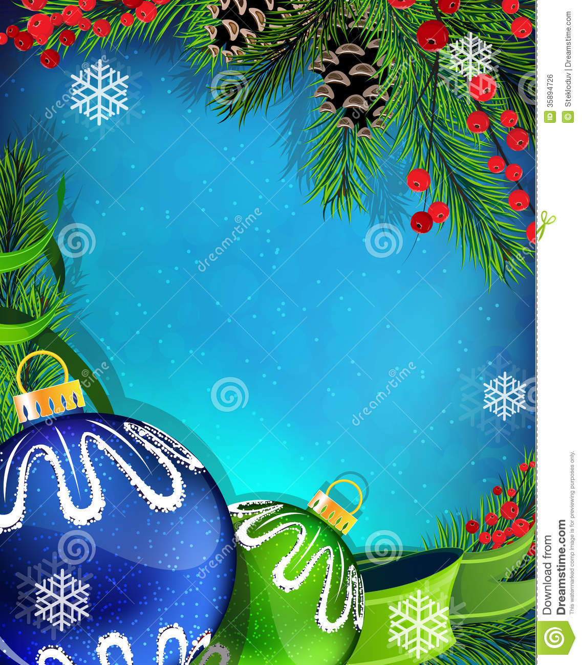 Blue And Green Christmas Tree: Blue And Green Christmas Ornaments With Ribbon On Stock