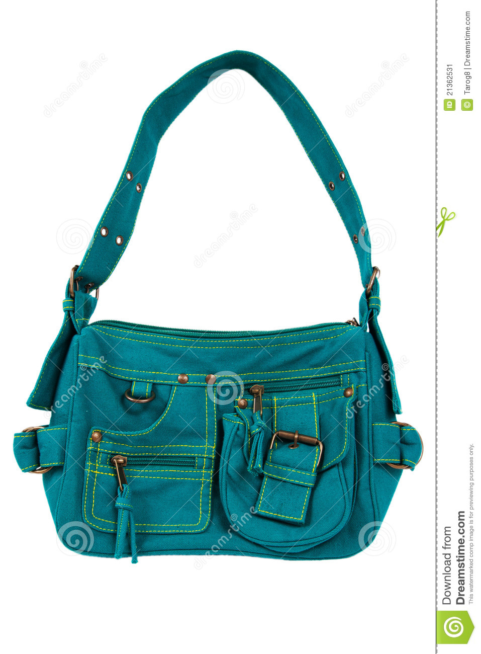 Blue-green fabric women bag isolated on white background.