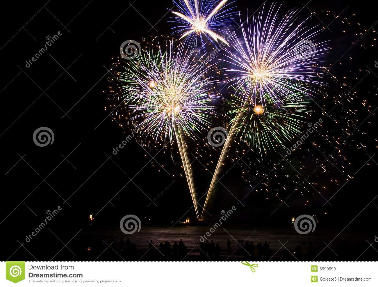 Blue And Green Fireworks Royalty Free Stock Images - Image ...