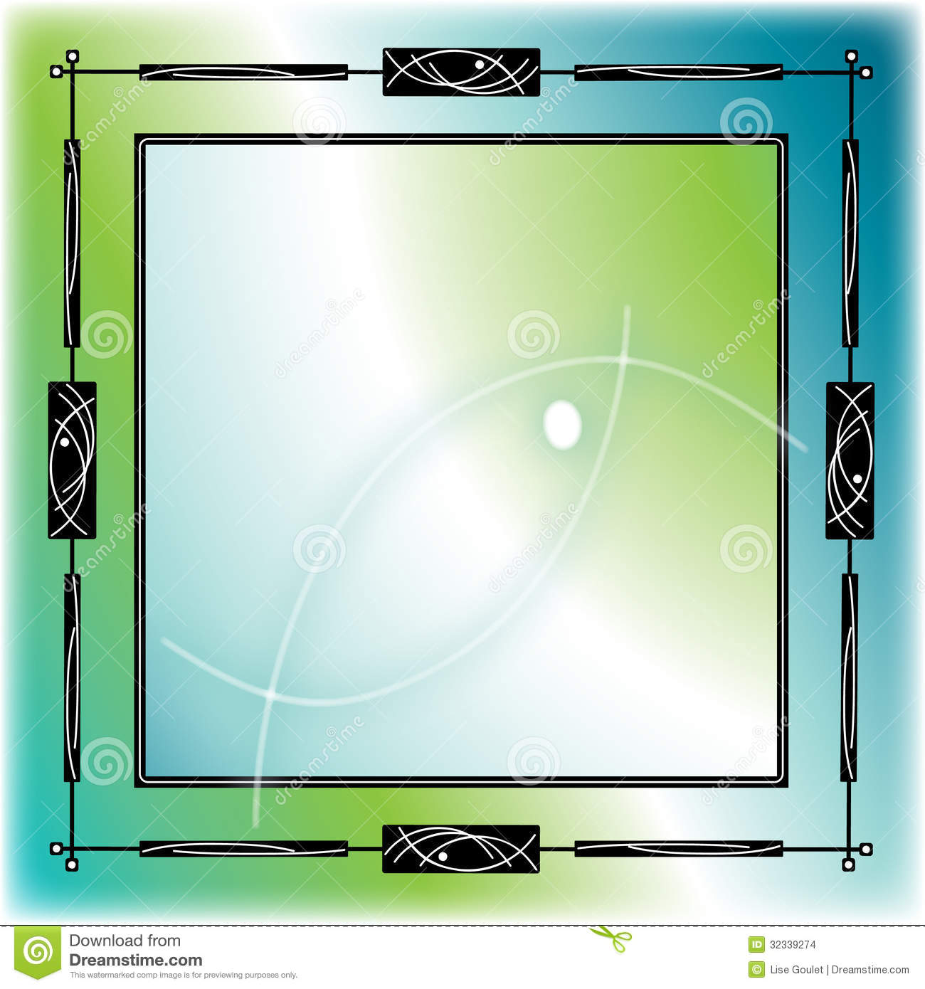 Blue green fish frame stock images image 32339274 for Fish photo frame