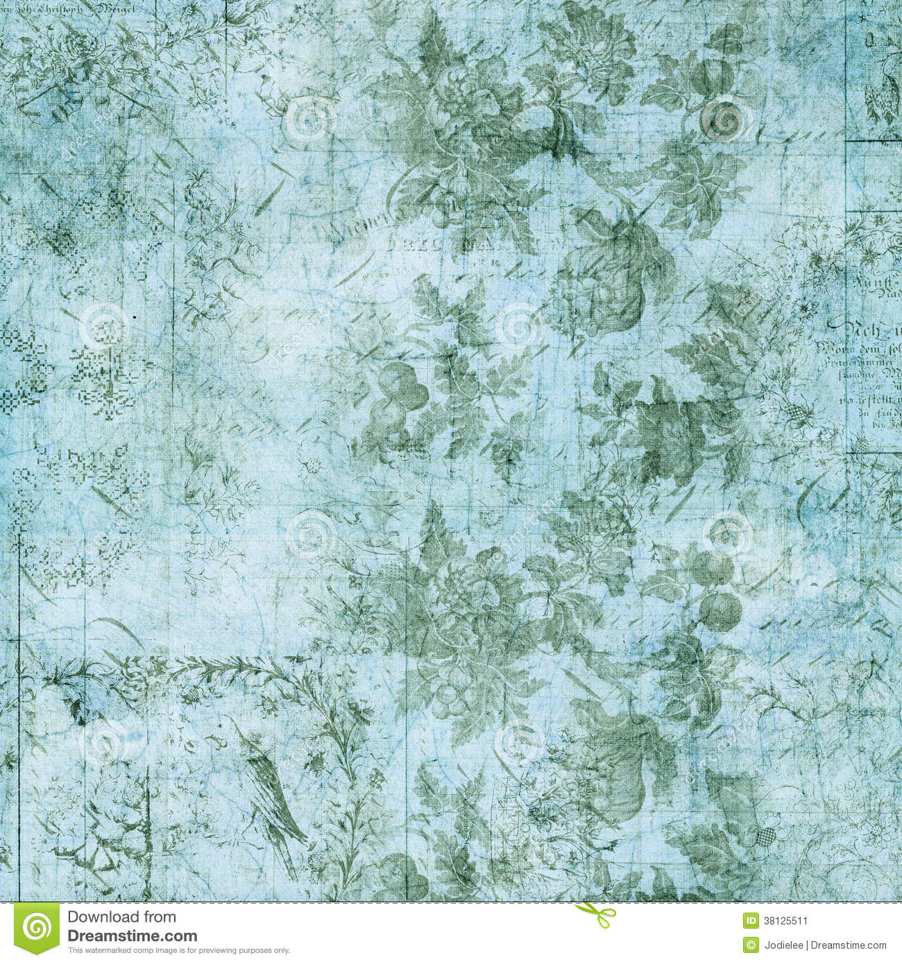 Blue And Green Floral Vintage Grungy Background