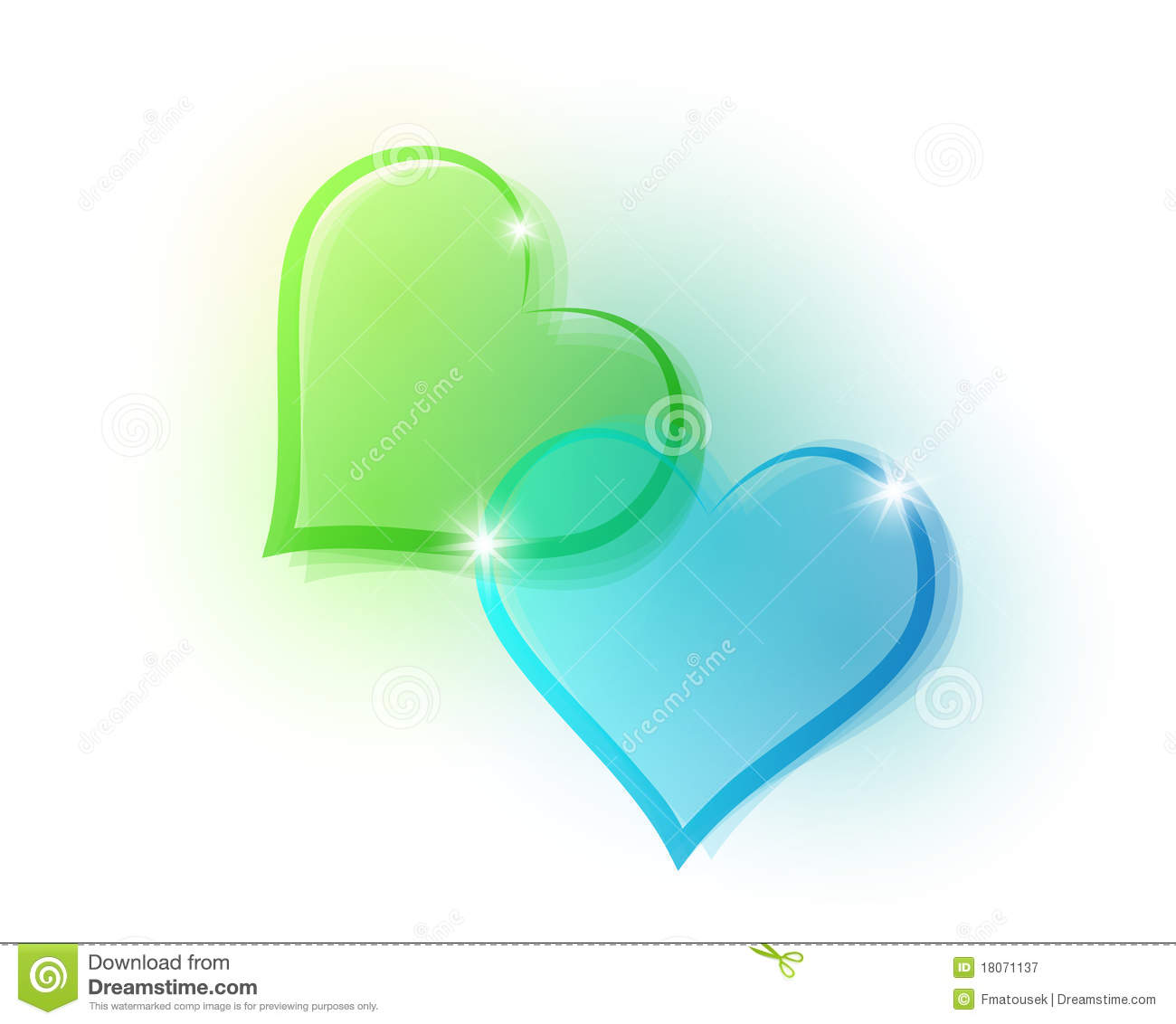 Blue And Green Hearts Stock Vector Illustration Of Concept 18071137