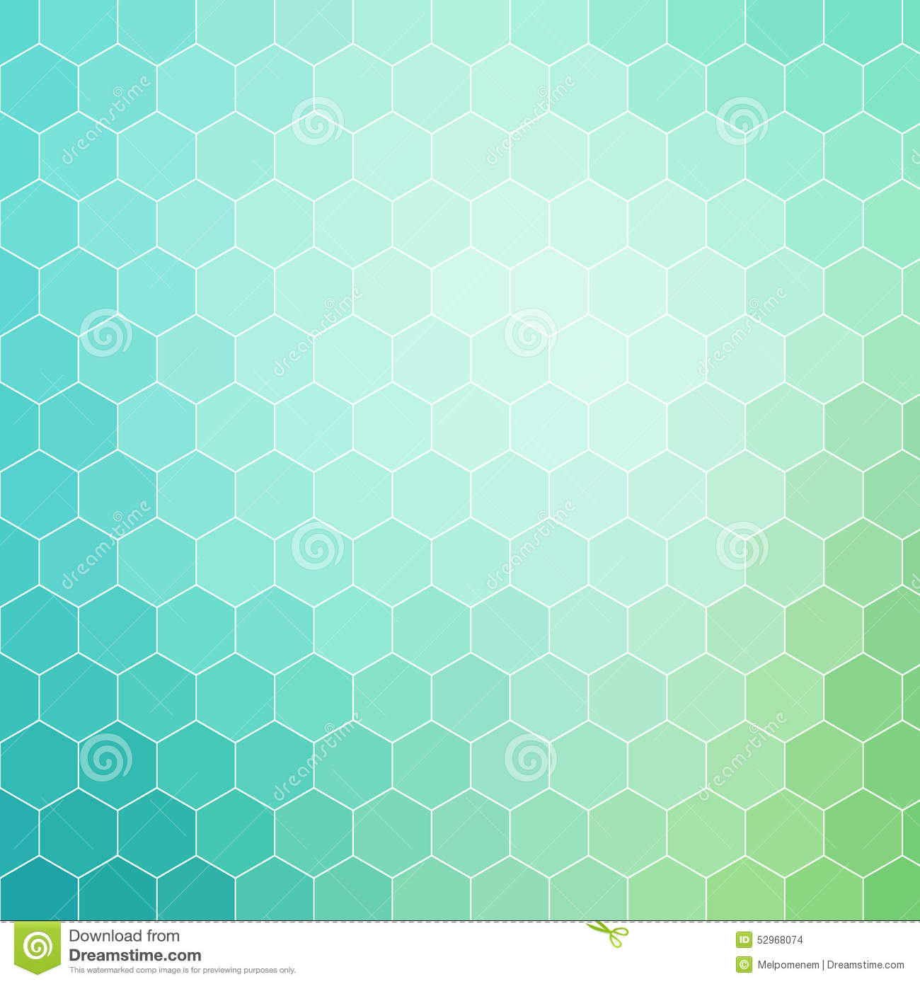 Blue Green Hexagon Pattern Background With White Outline Illustration 52968074