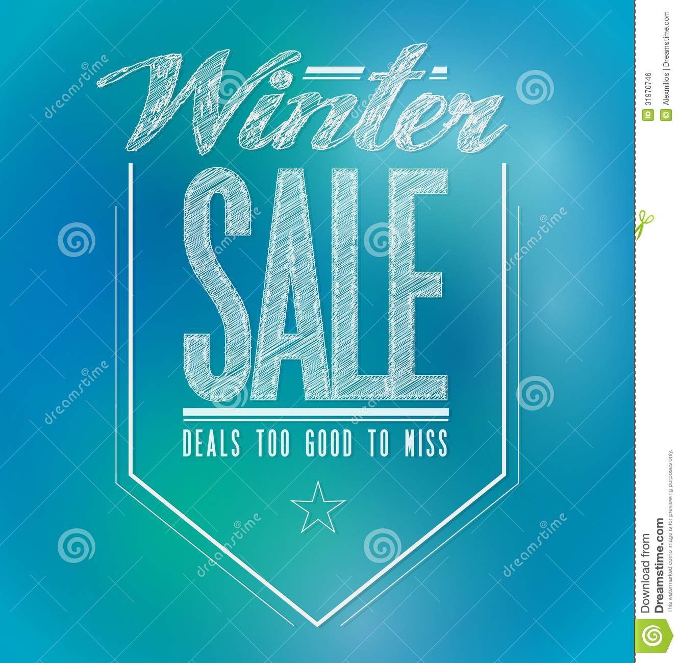 blue and green lights winter sale poster sign stock