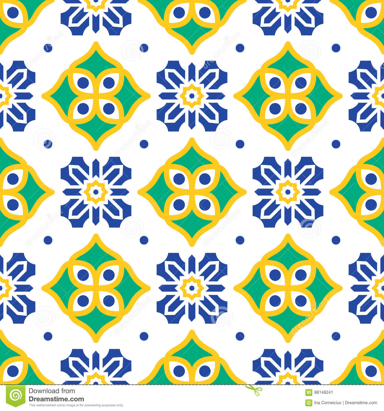 Download Blue And Green Mediterranean Seamless Tile Pattern. Stock Vector - Illustration of monochrome, blue: 88148241