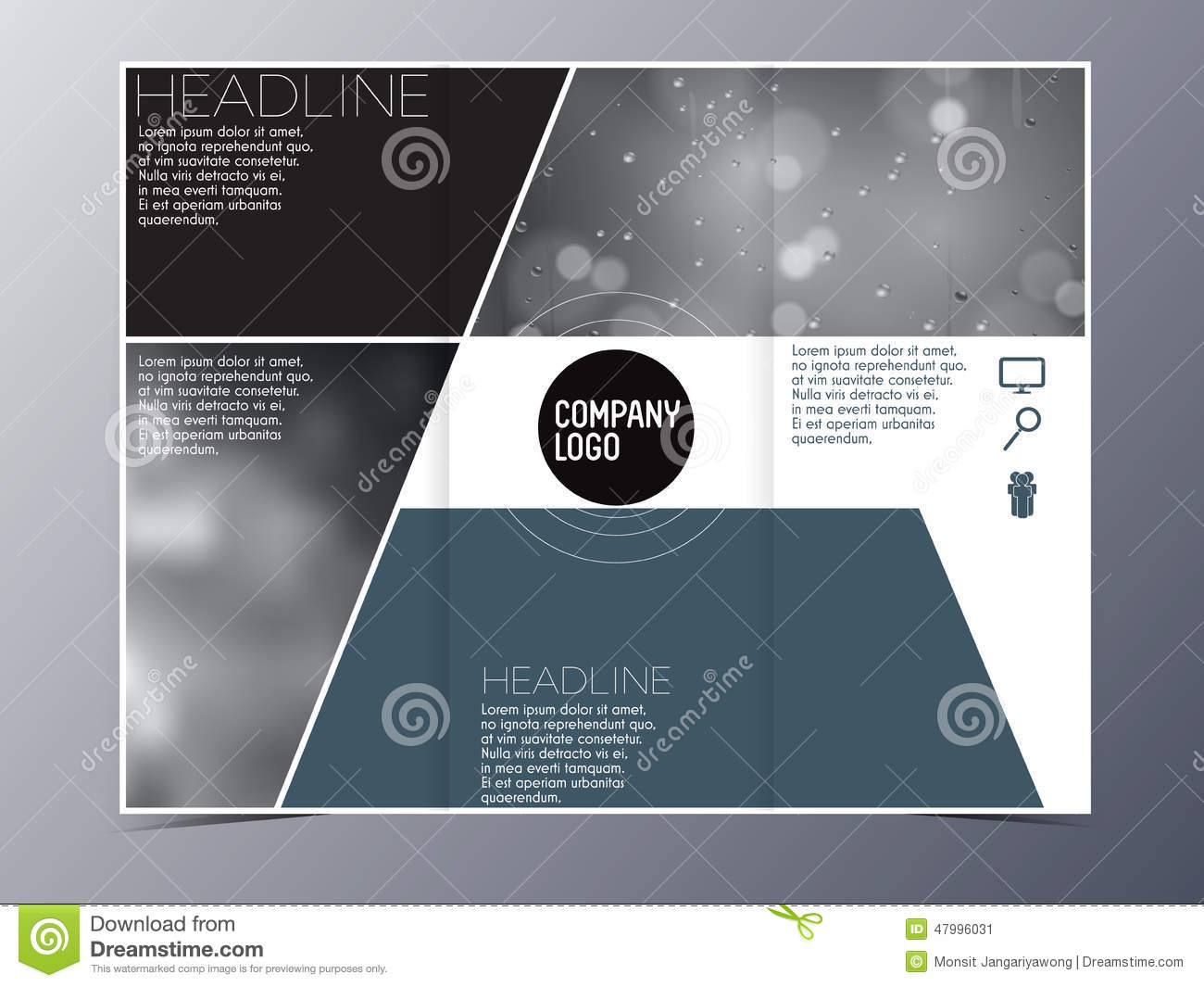 Blue green modern brochure design template vector tri fold for Modern brochure design templates