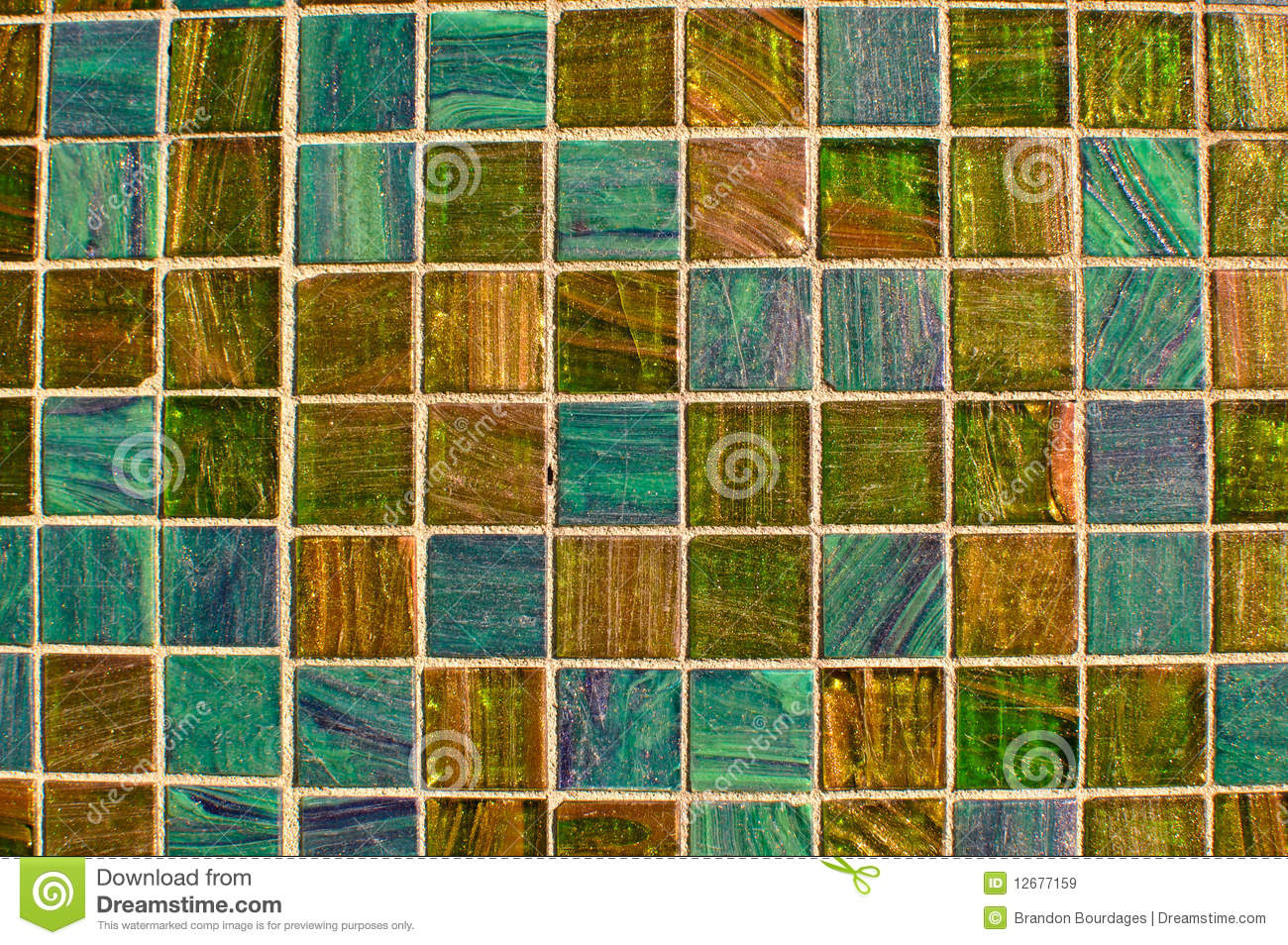 Blue And Green Multi Color Tile Mosaic Royalty Free Stock