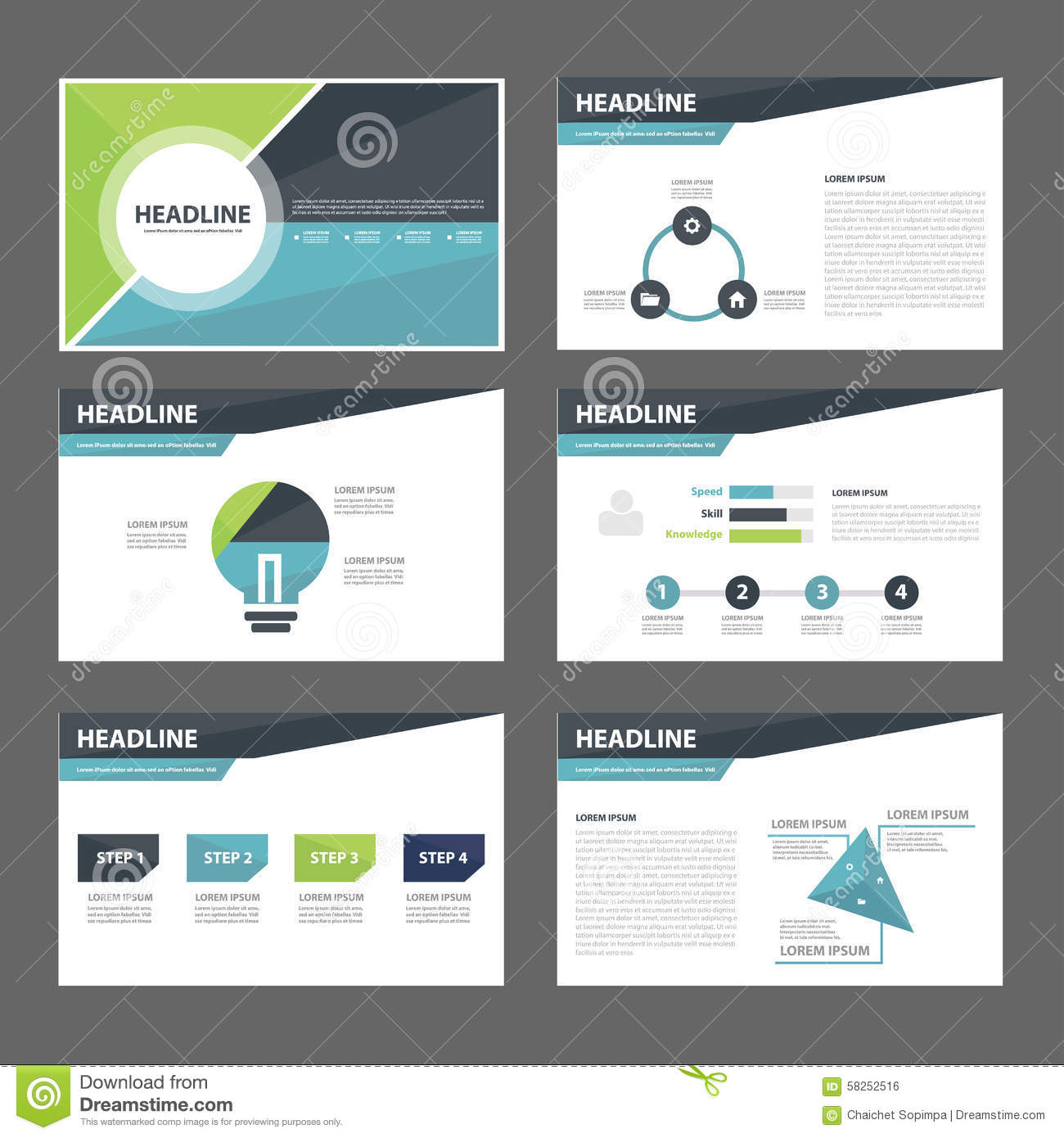 Blue And Green Multipurpose Brochure Flyer Leaflet Website Template - Brochure website templates