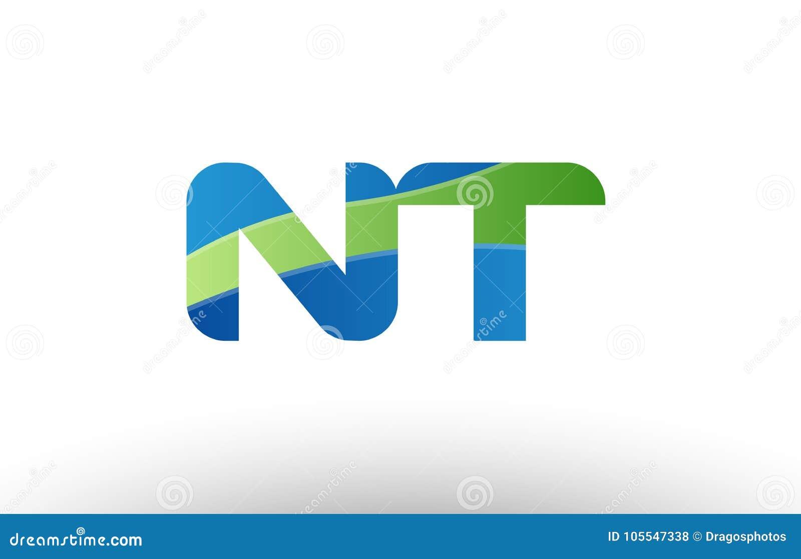 Blue Green Nt N T Alphabet Letter Logo Combination Icon Design Stock