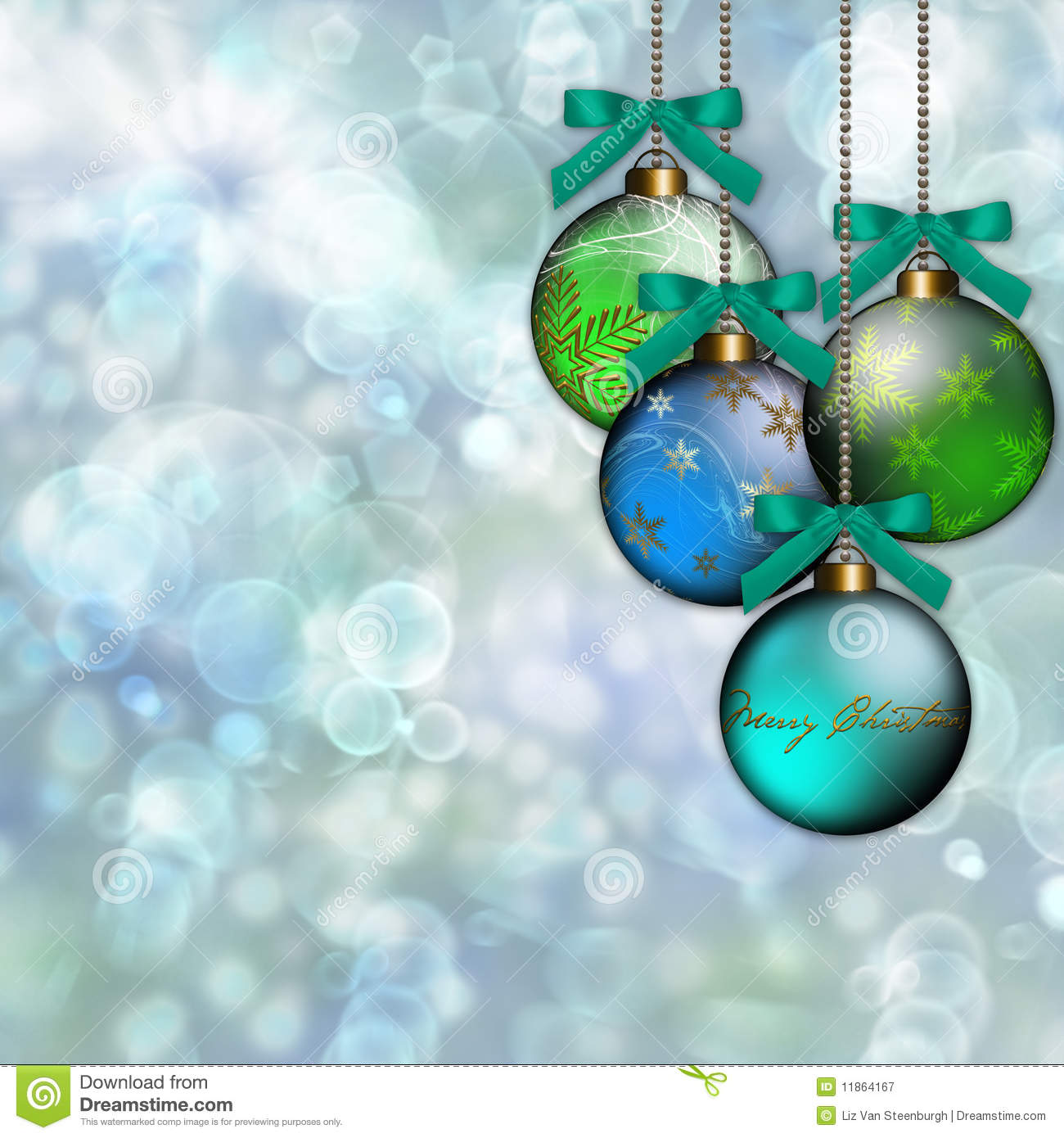 Blue green christmas tree decorations - Blue Green Ornament Christmas Background Royalty Free Stock Photography