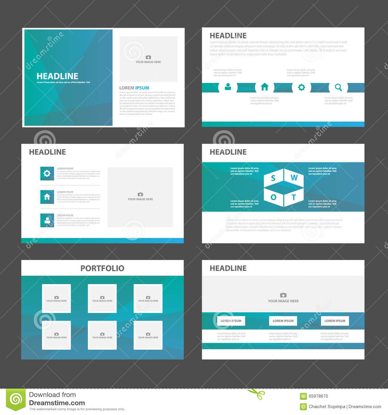 Blue Green Polygon Presentation Templates Infographic Elements – Marketing Brochure