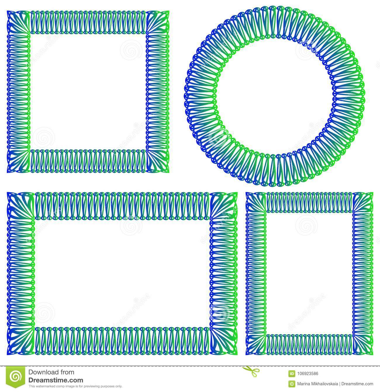 Blue And Green Square Round Rectangular Frame Stock Vector