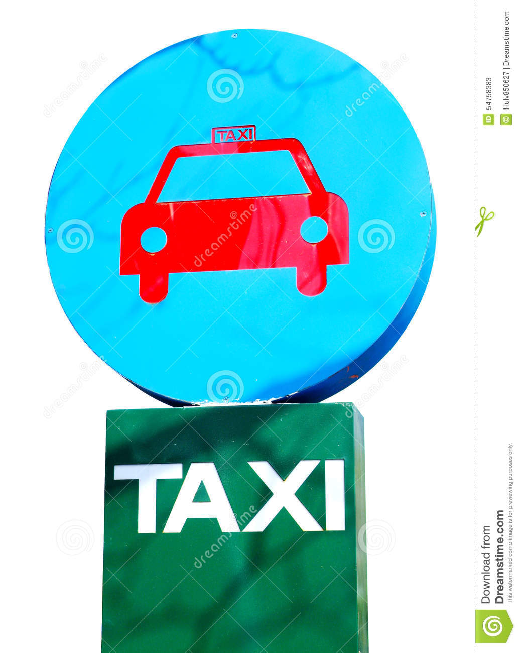 Blue And Green Taxi Parking Sign Stock Image - Image of front