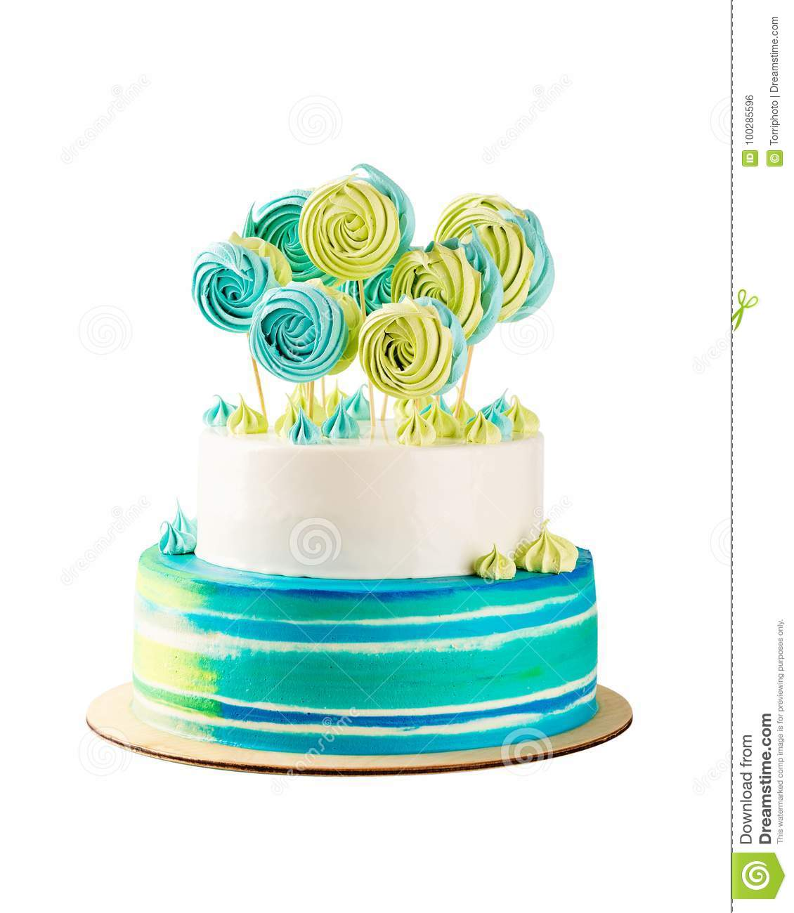 Terrific Blue And Green Tiered Birthday Cake Isolated On White Stock Photo Funny Birthday Cards Online Inifofree Goldxyz