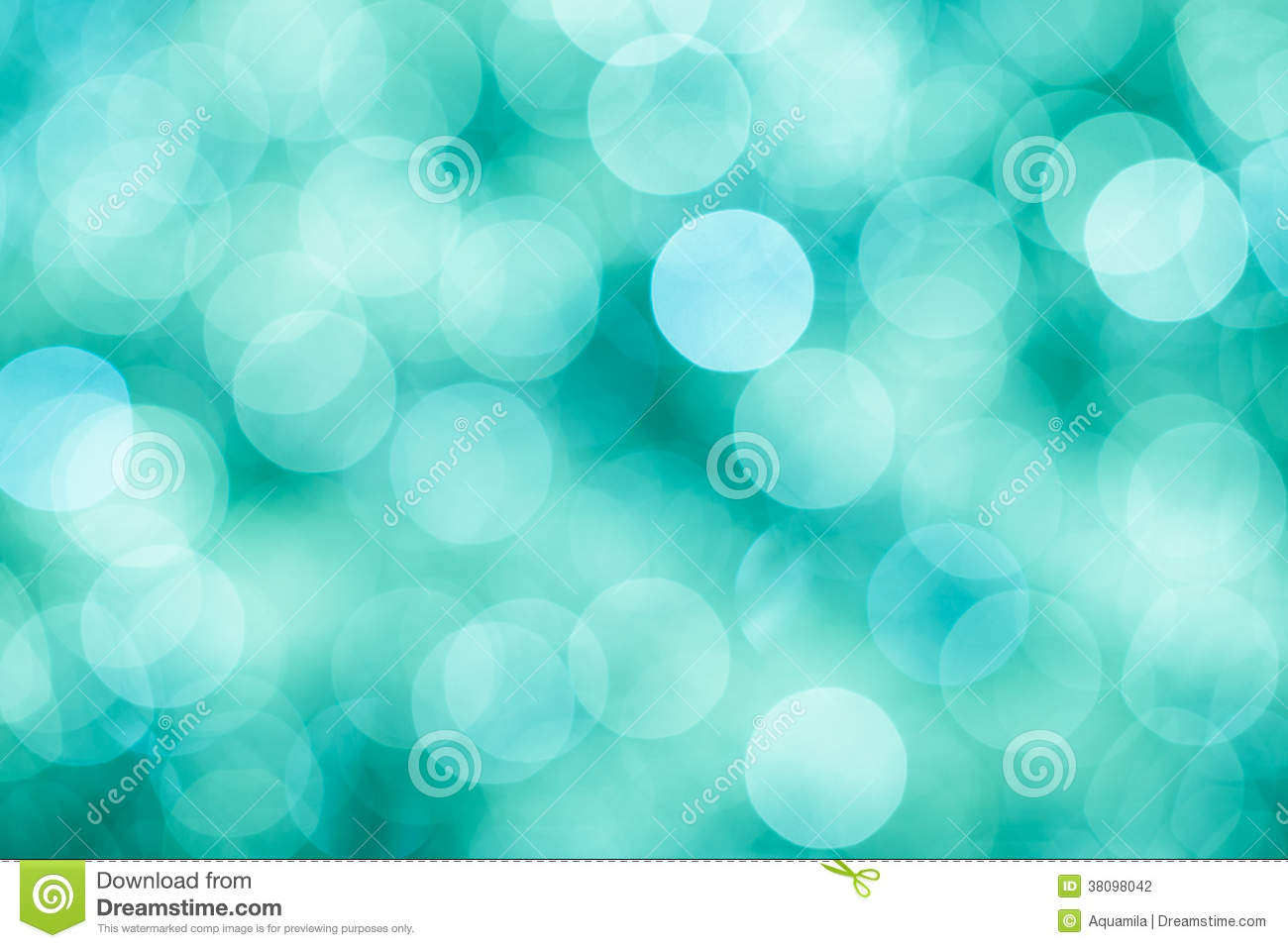 Blue, green and turquoise background with bokeh defocused lights
