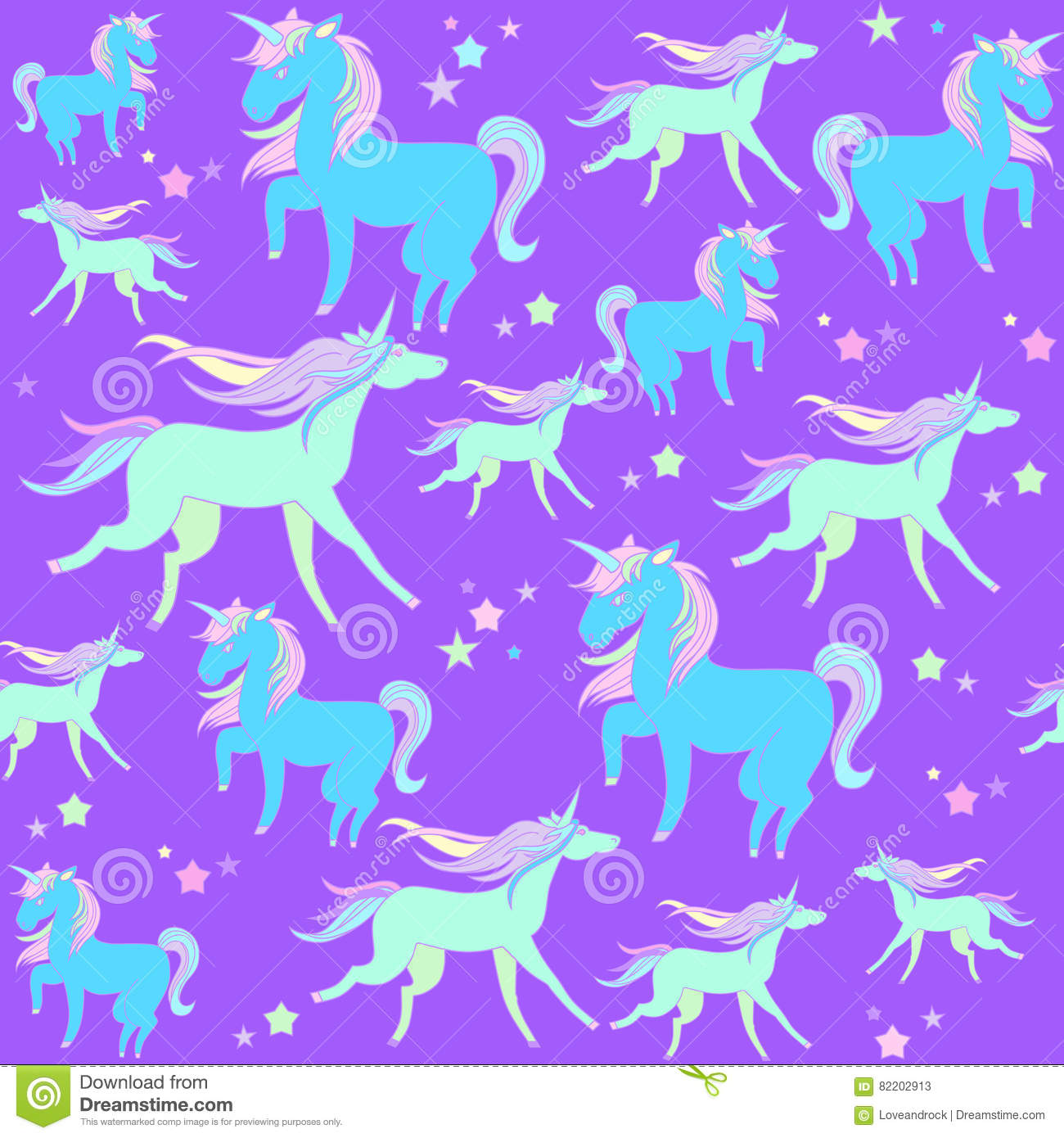Green Unicorns On A Violet Background ...