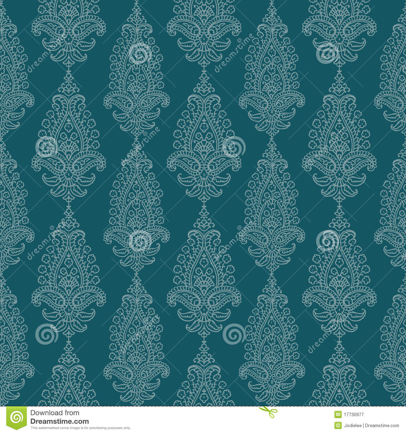 blue green vintage paisley damask wallpaper stock