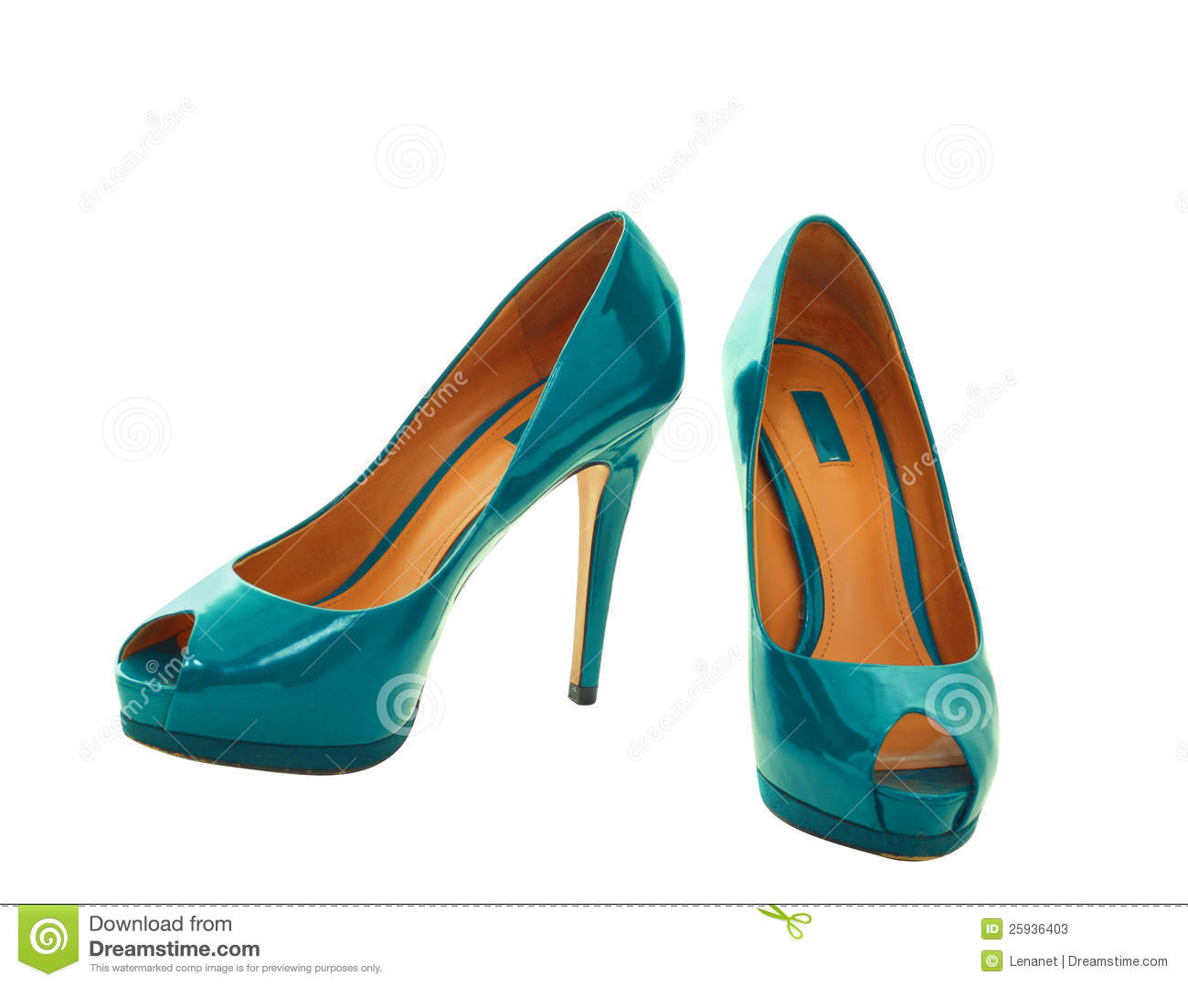 Pair of dress blue green women shoes isolated over white wiht clipping