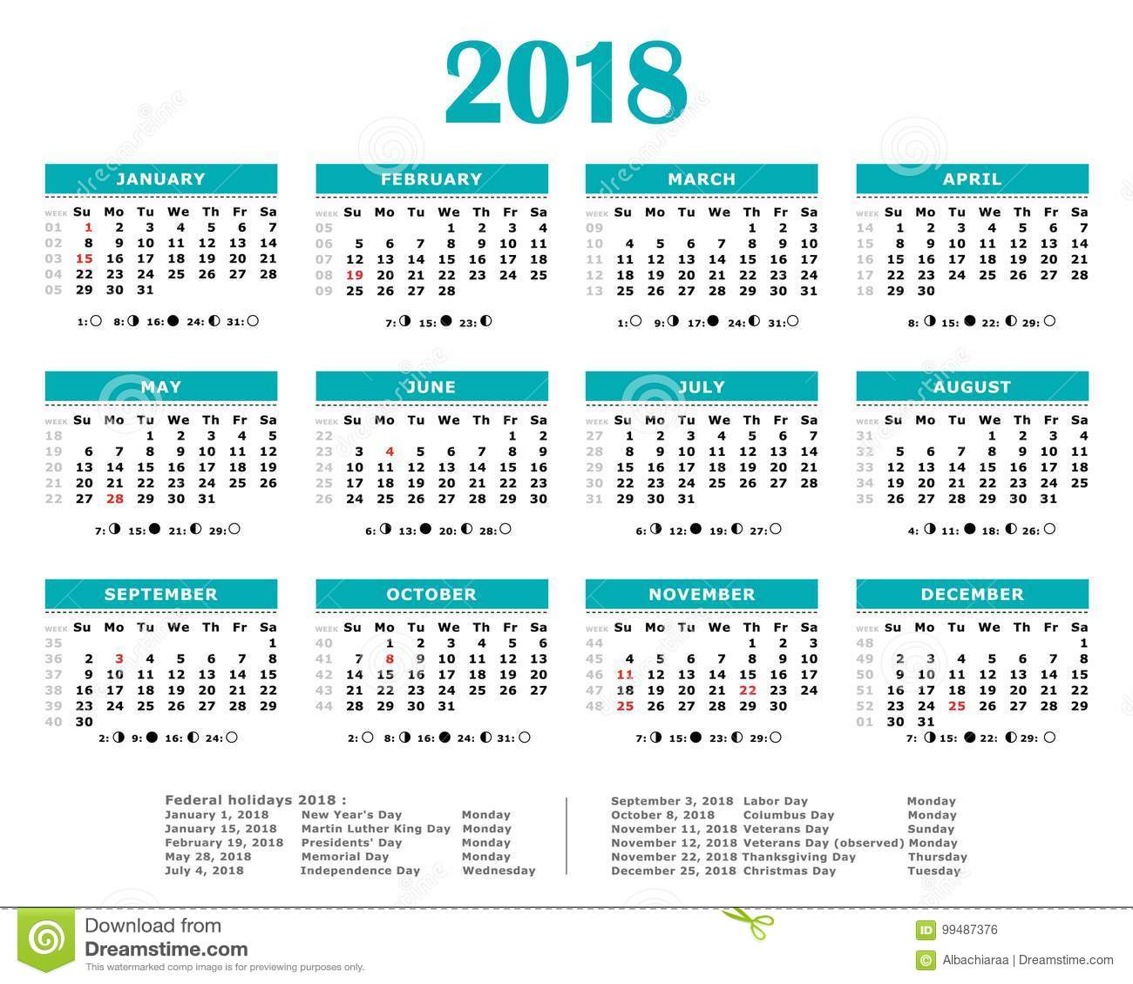 Year Calendar In Weeks : Moon calendar vector illustration cartoondealer