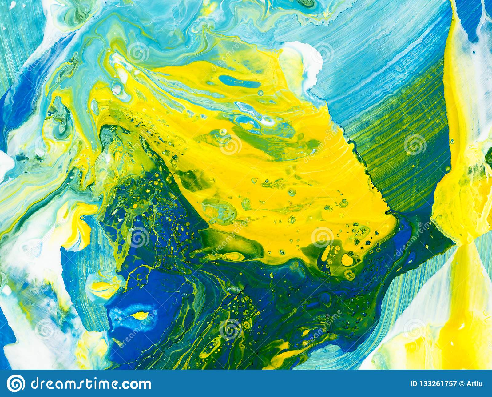 Blue Green And Yellow Creative Abstract Hand Painted